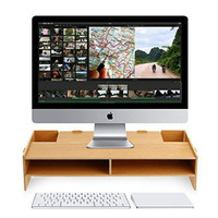Monitor Computer TV Stand Riser with Storage Organizer, Desktop TV Stand, Wooden Monitor Riser for TV Monitor/Laptop/Printer