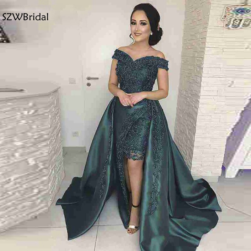 New Arrival Off the shoulder Dark Green   evening     dresses   Long 2019 Beaded lace Formal   dress   Party   Evening   gown vestido de noche
