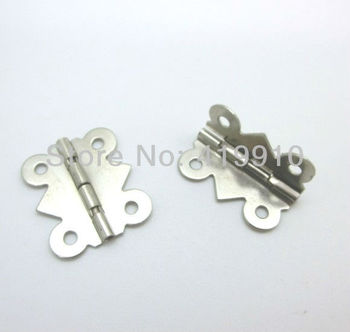 Free Shipping-50pcs Silver Tone 4 Holes Door Box Butt Hinges 20x24mm,Wide Size:19mm-20mm J1792