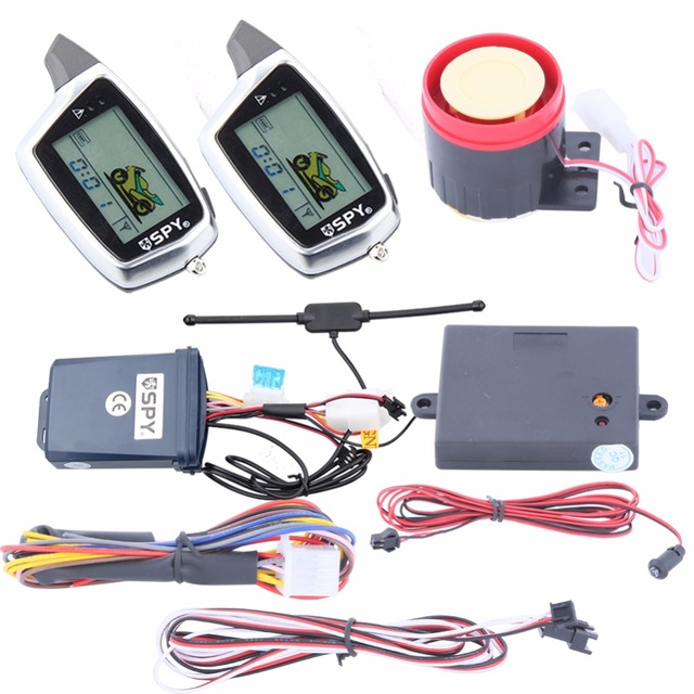Original SPY two way motorcycle alarm remote engine start stop function & shock sensor warning LCD display transmitter charge