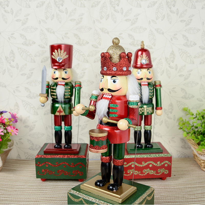 HT056 toy 31CM fine painted nutcracker Music Box walnut soldiers Exquisite Gift Box Christmas gift цена