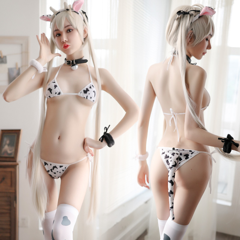 Women <font><b>Sexy</b></font> <font><b>Cow</b></font> Cosplay Costume Three-point Bikini Set Swimsuit Anime Girls Swimwear Clothing Lolita Bra and Panty Set Nightgown image