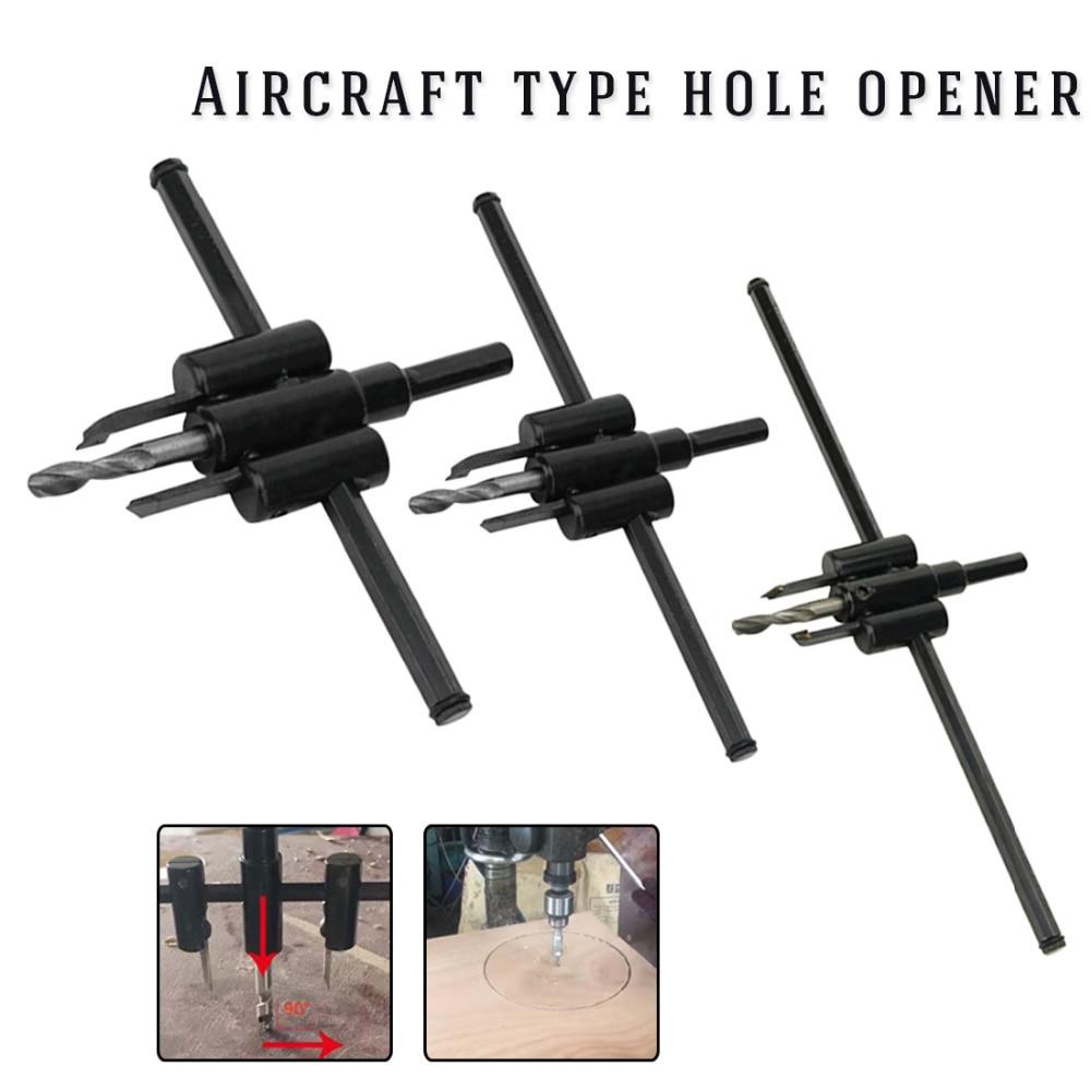 30mm-120mm/200mm/300mm Adjustable Metal Wood Circle Hole Saw Drill Bit Cutter Kit DIY Tool Black Alloy Blade