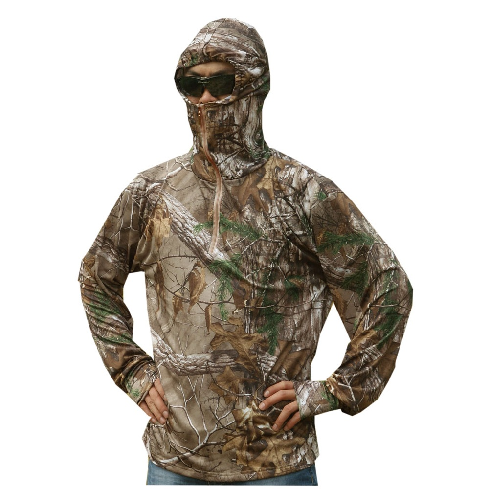 Bionic Mens Fishing T-shirt Breathable Camouflage Long-sleeved Summer Hooded Base Layer Anti- UV Sun Protection