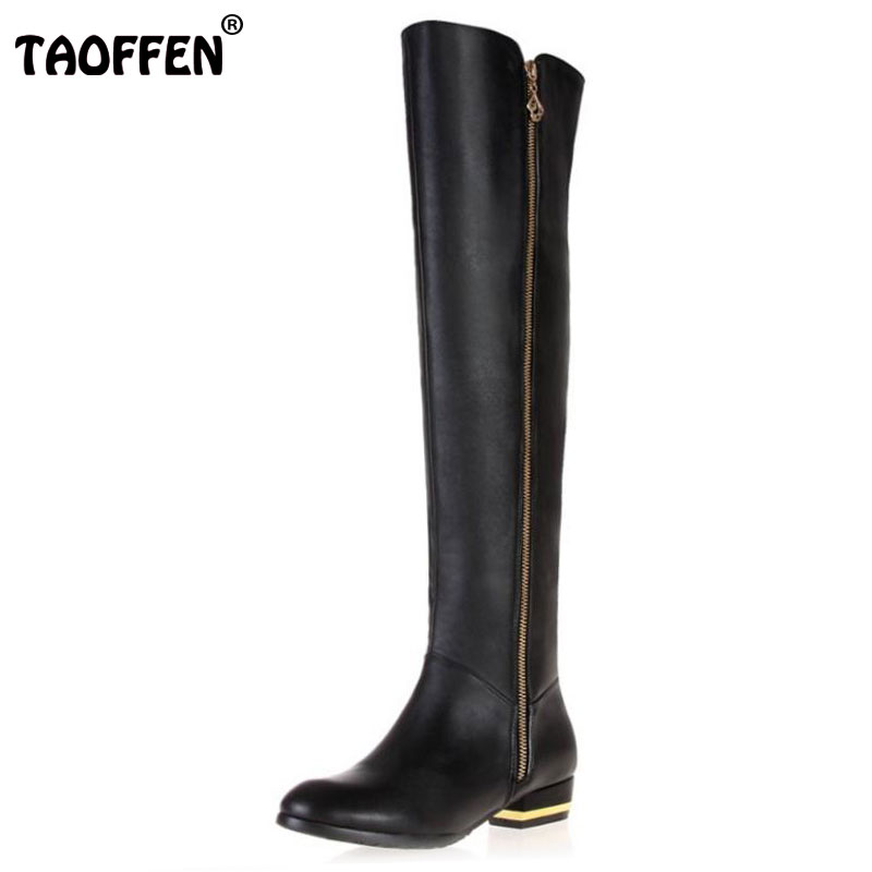 TAOFFEN Size 30-45 Women Real Genuine Leather Flat Over Knee Boots Fashion Long Boot Winter Botas Feminina Footwear Shoes R1537 size 30 44 women flat over knee boots ladies riding fashion long snow boot warm winter brand botas footwear shoes p10263