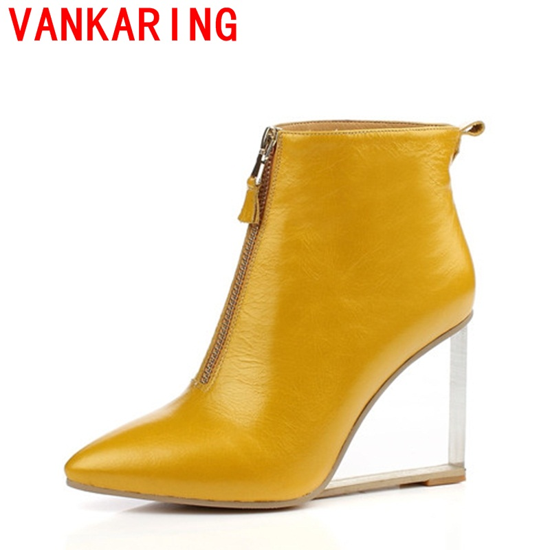 ФОТО VANKARING shoes 2017 women ankle boots pointed toe sexy high heels autumn front zipper genuine leather black yellow color shoes