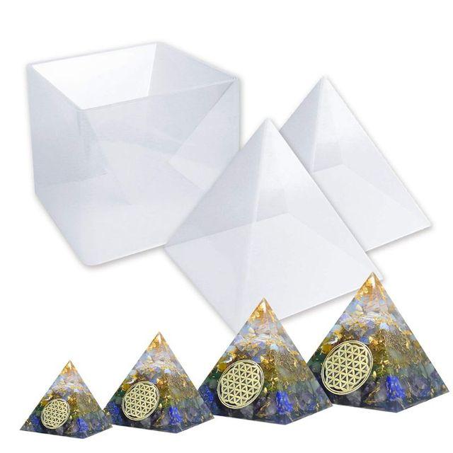 Livraison gratuite grande résine moules pyramide moules, résine moule silicone pour bricolage Orgonite pyramide, outils de bijoux, moules en résine époxy