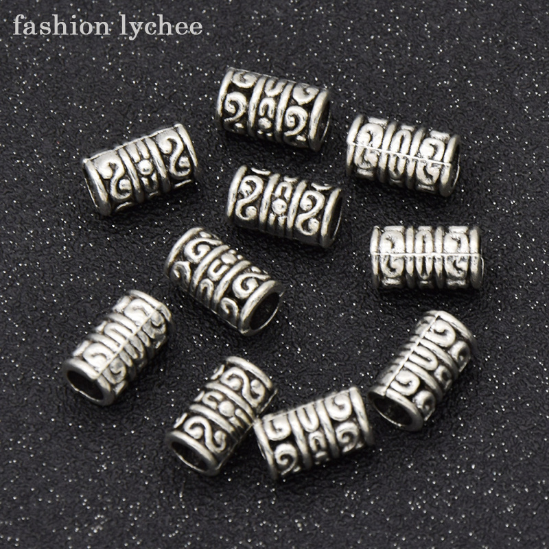 fashion lychee 10pcs Antique Silver Color Double S Viking Beads Tube Charms For DIY Jewe ...