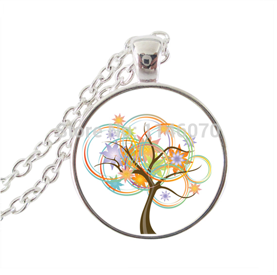 Life tree pendant necklace mandala flower of life jewelry glass pendant silver statement chain neckless women accessories gifts