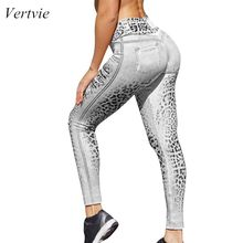 Vertvie Women New Elastic Leggings Bandage Casual Fashion Serpent Printed Yoga Pants High Waist Workout Folding