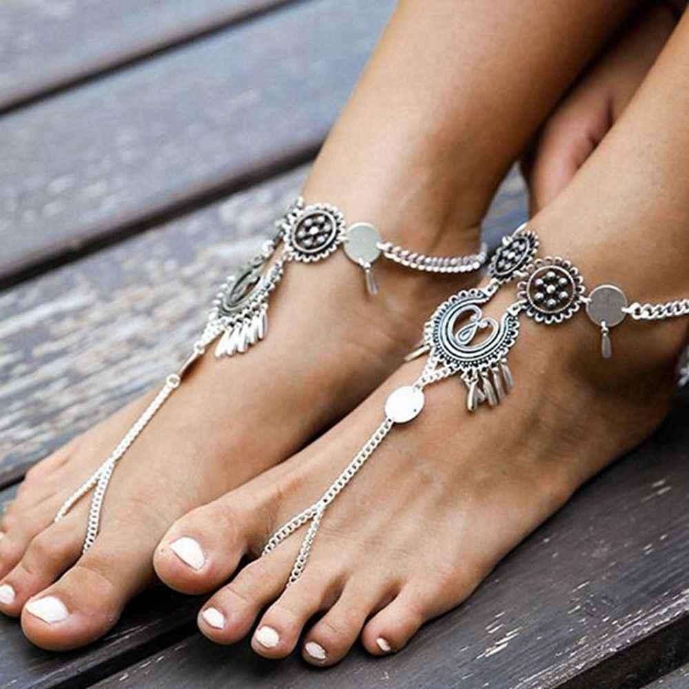 Женские Ретро Бохо босиком сандалии пляжные цепочка на лодыжку ювелирные изделия браслет