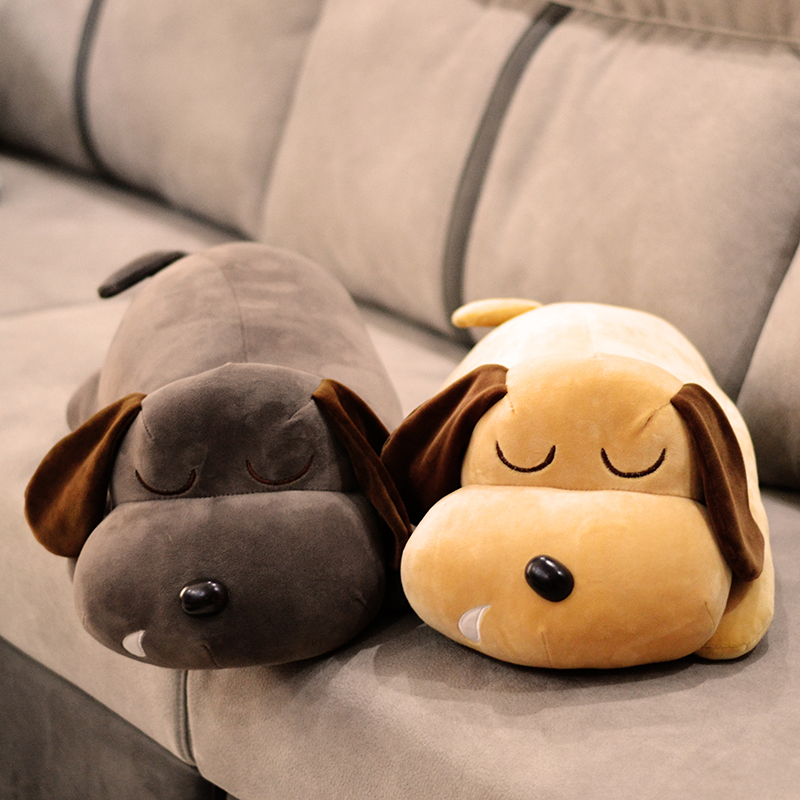 big new plush lying dog toy soft gray or yellow dog doll pillow gift about 70cm super cute plush toy dog doll as a christmas gift for children s home decoration 20