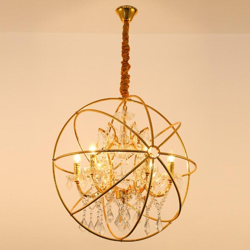 Lustre en cristal moderne orbe lampe or éclairage Vintage pendentif LED chaîne suspendue à manger lumière RH rustique bougie lustres