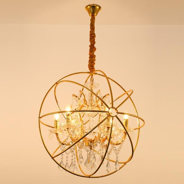 Modern Crystal Orb Chandelier Lamp Gold Lighting Vintage Led Pendant Hanging Chain Dinning Light Rh Rustic