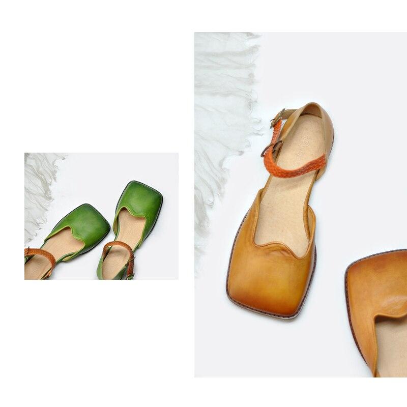 Artmu Originele Retro Vierkante Teen Vrouwen Sandalen Ondiepe Mond Echt Leer Platte Handgemaakte Gesp Schoenen 1812 5-in Lage Hakken van Schoenen op  Groep 3