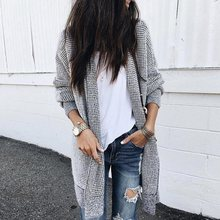 Casual Plus Size Elegant Black Autumn Boho Long Sweater Women Loose Plaid Vintage Cardigan Female Clothes Tops 2019