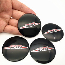 Tampa adesiva do centro da roda de carro, 4 unidades, para john cooper trabalha logotipo para mini cooper clubman cabrio paceman r50 r52 jcw r55