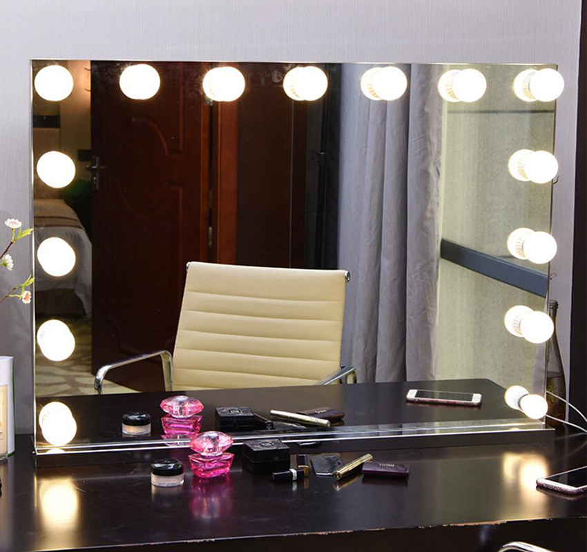 Frameless Vanity Mirror with Light Hollywood Makeup Lighted Mirror 3 color Light Cosmetic Mirror Adjustable Touch Screen