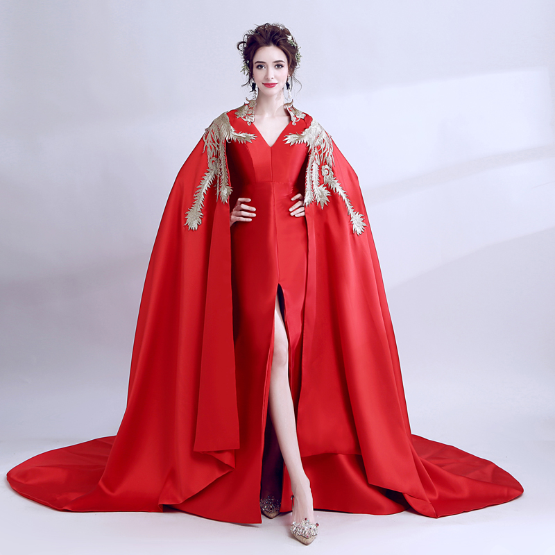 Red Phoenix Embroidery Cheongsam Chinese Red Qipao Dressing Women Queen Robe Bride Wedding Dress Dinner Party Dress Large Cloak