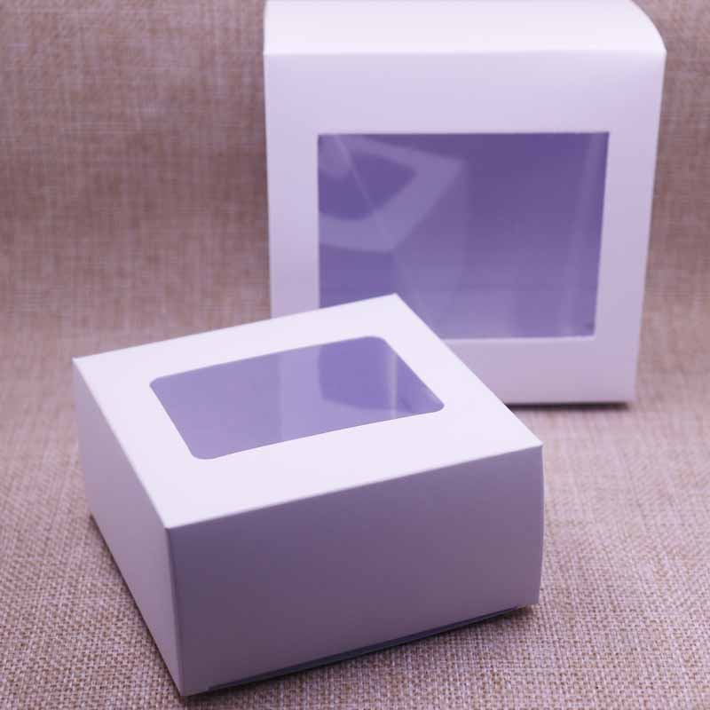 2019 New 10pcs White Vintage /Black Paper Gift Box Package With Clear Pvc Window Candy Favors Arts&krafts Display Package Box