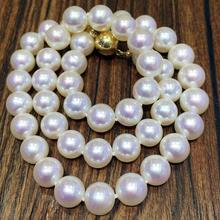 9-10 mm White Pearl Necklace light freshwater pearl necklace birthday gift 925 silver clasp fine JEWELRY