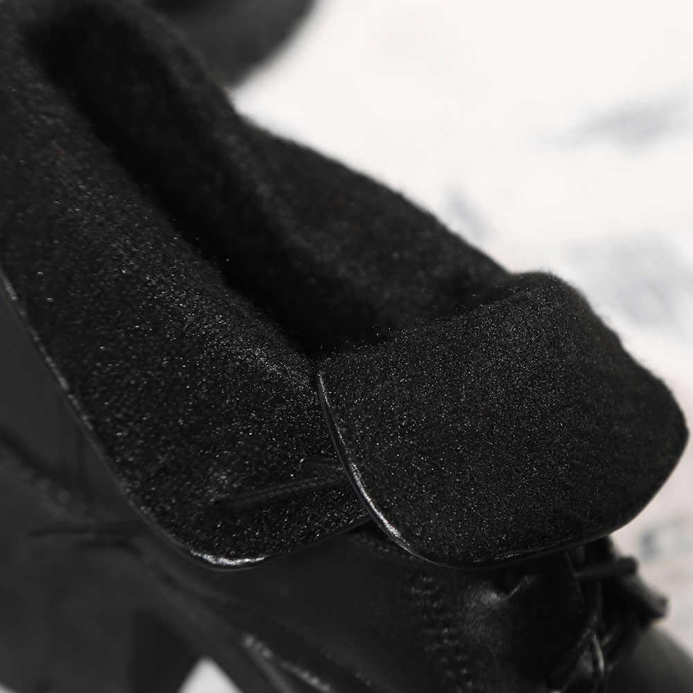 KARINLUNA/Новые Брендовые однотонные черные туфли на шнуровке и широком высоком каблуке 7,5 см повседневные женские зимние ботильоны Большие размеры 35-43