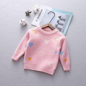 Image 4 - Осенний трикотажный свитер с длинным рукавом и принтом любящего сердца для маленьких девочек, бархатный пуловер, джемперы