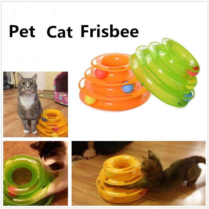 2017 New Three Levels Tower Tracks Disc Cat Pet Toy Intelligence Amusement Rides Shelf for Cute Cat
