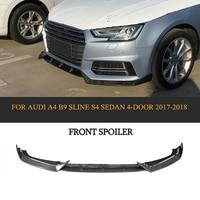 Carbon fiber Car Front Lip Spoiler Bumper Protector For Audi A4 B9 SLINE S4 Sedan 4 Door 2017 2018 Black FRP