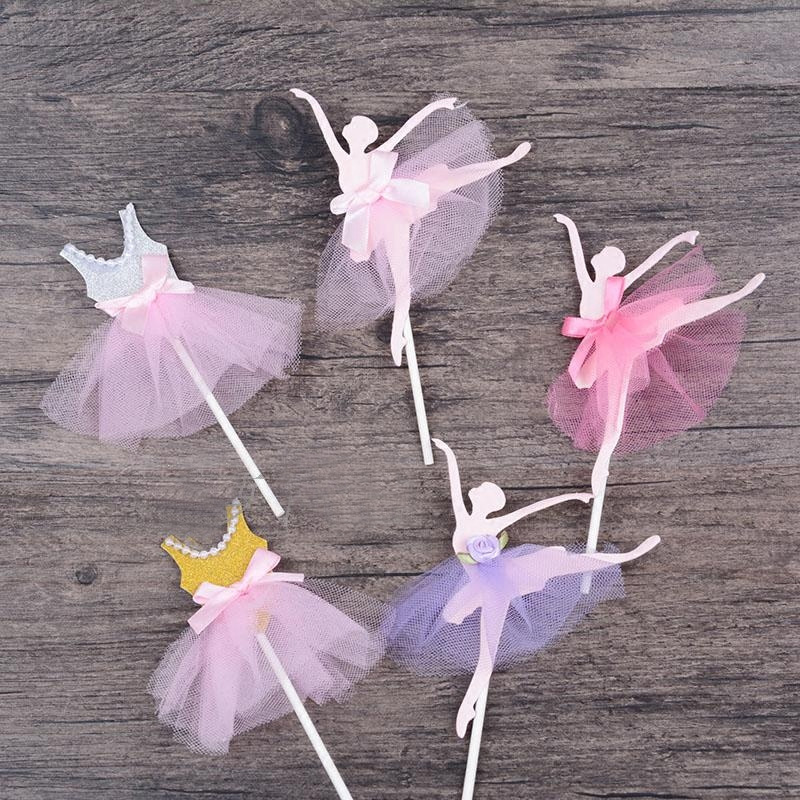3 pcs/lot ballet girl dress birthday cake topper cupcake decoration baby shower kids birthday party wedding favor supplies