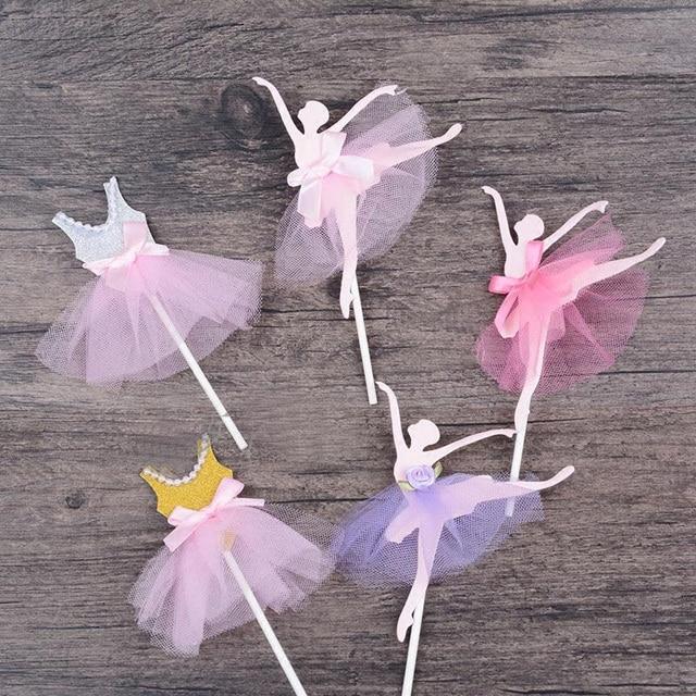 3 unids/lote vestido de niña de ballet pastel de cumpleaños decoración cupcake baby shower niños fiesta de cumpleaños boda favor suministros