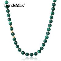 8mm Natural Grade A Malachite Beads Mixed Gold Color Silver Sterling Beads Necklace for Men Women Gem Stone Jewelry TNB00501