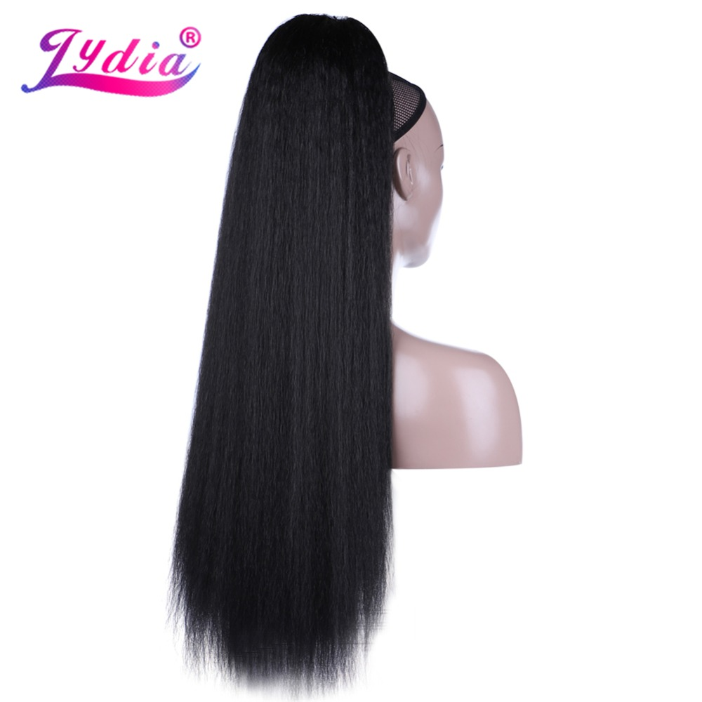 HTB1sVHgcl1D3KVjSZFyq6zuFpXaT - Lydia Heat Resistant Synthetic 30 Inch Kinky Straight Hair With Two Plastic Combs Ponytail Extensions All Colors Available