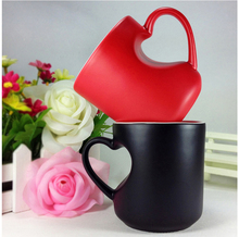 SPSCO Magic Ceramic Coffee Tea Milk Hot Cold Heat Sensitive Color-Changing Mug Cup Pixel Heart Lovely Gift