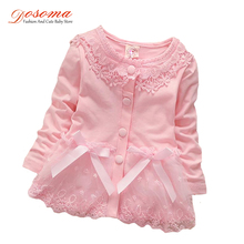 2018 New born autumn baby girl dress cotton 0-24 months fashion Korean girls candy-colored cardigan flower lace dress for girls