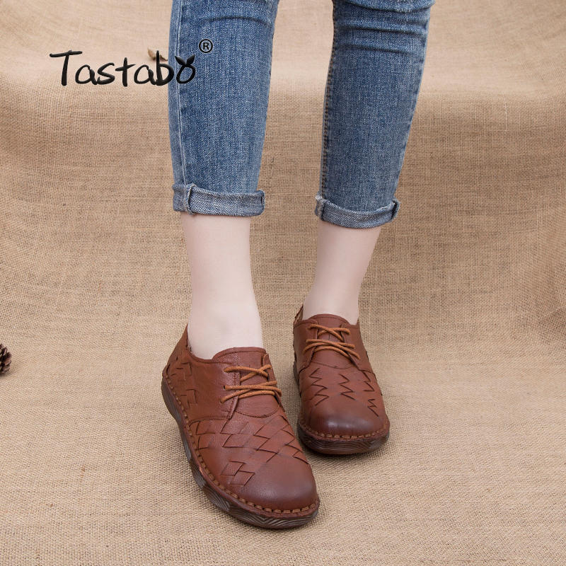 цена на Tastabo Flat Shoes Women 2018 Genuine Leather Safe Non-slip Loafers Female Casual Shoes Woman Flats Ladies Shoes