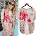 Europe And America Lollipop Characters Printed Chiffon Shirt Summer Short-sleeved T-shirt Women CH-224