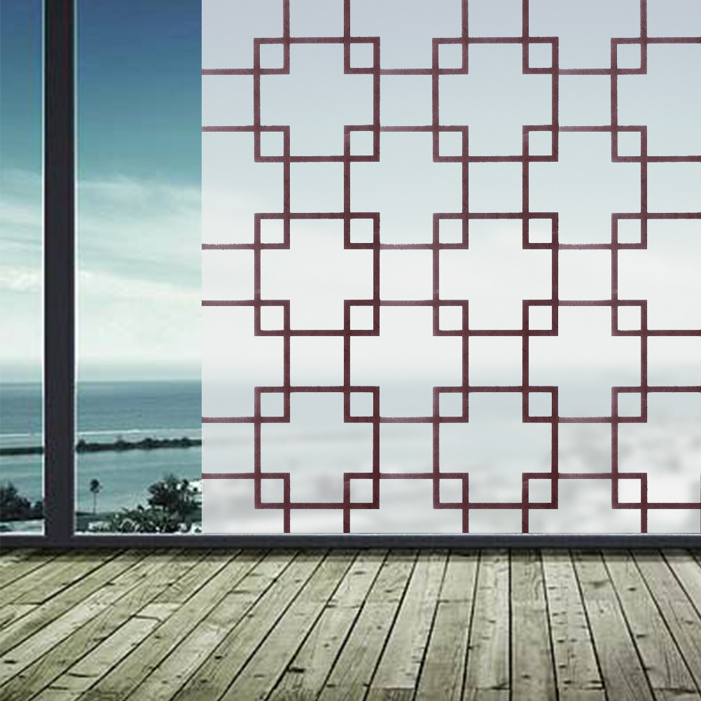 45 100cm 45 200cm Brown Lattice Pvc Frosted Opaque Window