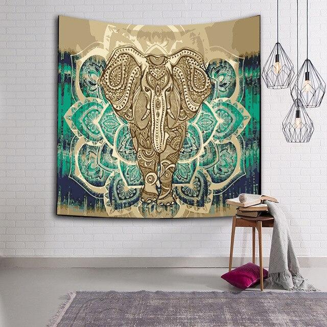 Indian Elephant Mandala Tapestry Wall Art Hanging Tapestries Beach ...