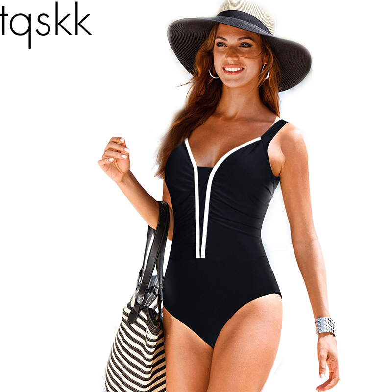 TQSKK Plus Size Swimwear 2017 New Summer Beachwear Swim Print Stripe Vintage One Piece Swimsuit Women Bathing Suits Black 5XL one piece swimsuit cheap sexy bathing suits may beach girls plus size swimwear 2017 new korean shiny lace halter badpakken