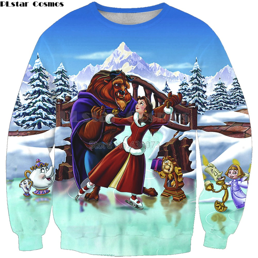 PLstar Cosmos 2019 New Fashion Men 3d Sweatshirt Beauty Beast Cartoon Print Unisex Casual O-Neck Long Sleeve Sweatshirts K-254