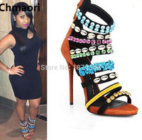 New Design Multi Color Crystal Beaded High Heel Sandals Open Toe Fancy Strap Colorful Gladiator Sandals