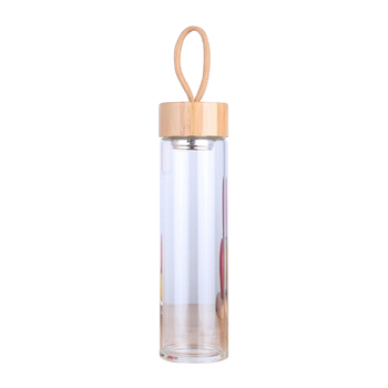 380ml 450ml High Quality Glass Water Bottles Bamboo Lid With Rope Drink Bottled For Beverages Outdoor Brief Portable Tea bottle 6