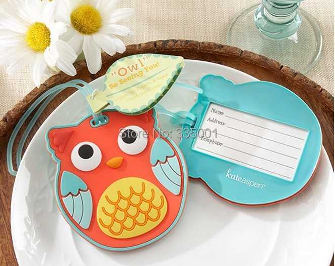 wedding favor and giveaways--Owl luggage tag favor wedding baby shower party favor guest gift 100pcs/lot