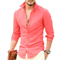 Brand High Quality Linen Men S Shirts Long Sleeve Male Slim Fit Casual Business Shirt Solid