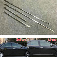 4pcs Set ABS Chrome Car Body Side Guard Strip Garnish Trim Decal Cover Molding Fit For