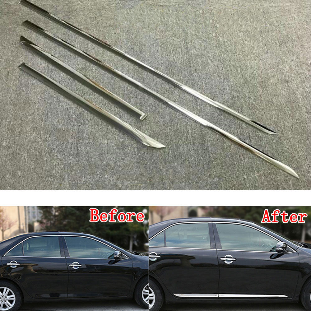 4pcs/set ABS Chrome Car Body Side Guard Strip Garnish Trim Decal Cover Molding Fit For Toyota Camry 2018 Car Styling Accessories stainless steel door side body garnish molding cover trim for toyota rav4 2014 2017 exterior decor strip car styling accessories