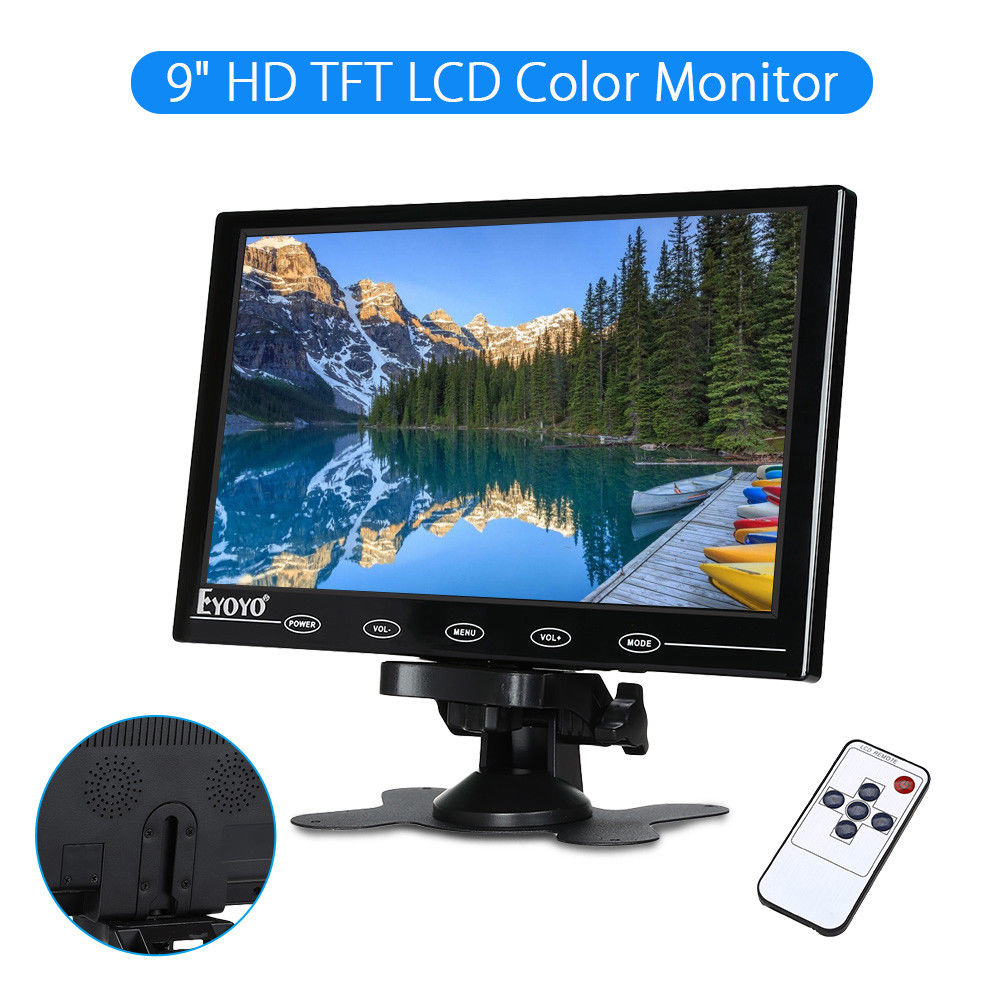 EYOYO 9 Mini TFT Color Monitor LCD HD 1024x768 Ultra-light Video Audio Remote Control Display Portable HDMl For DVD CCTV Camera eyoyo g08 160 degree 8 inch 400 1 tft lcd monitor screen 4 3 1024 768 hdmi av vga video audio for cctv fpv with loudspeaker