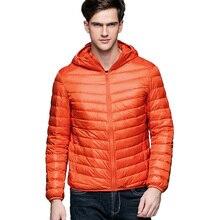 Мужская осенне-зимняя куртка из 90% белый утиного пуха, мужская легкая куртка с капюшоном, ультра легкий пуховик уличная теплая куртка