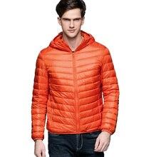Erkek kış sonbahar ceket beyaz ördek aşağı ceketler erkekler kapşonlu Ultra hafif aşağı ceketler sıcak dış giyim ceket Parkas açık havada